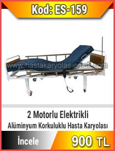 2 motorlu tabanca korkuluklu elektrikli hasta karyolası