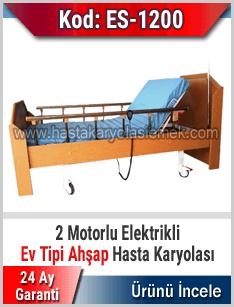 Bazalı Ev Tipi 2 Motorlu Ahşap Hasta Karyolası