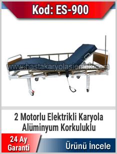 2 motorlu alüminyum korkuluklu hasta karyolası