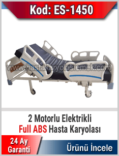 2 motorlu abs korkuluklu elektrikli hasta karyolası
