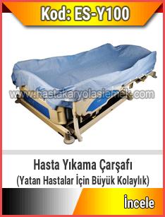 Hasta karyolası üzerinde hasta yıkayabilmek için özel çarşaf